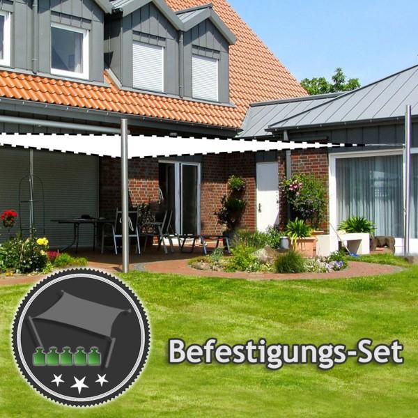 Befestigungs-Set Terrasse - sehr große, schwere Viereck-Segel | 2 Mast & 2 Wandhalter (ohne Segel)