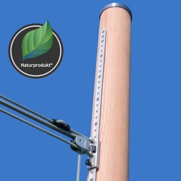 Holzmasten für Sonnensegel aus Douglasie, 3m, höhenverstellbar - inkl. 4-fach Flaschenzug