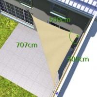 sonnensegel dreieck 5x5x7m 90 grad online kaufen pina sonnensegel. Black Bedroom Furniture Sets. Home Design Ideas