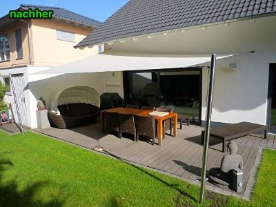 Sonnensegel richtige Montage auf Terrasse, straff gespannt