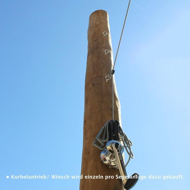 Robinienpfosten für Sonnensegel 3 Augbolzen und Seilstopp-Kurbelsystem