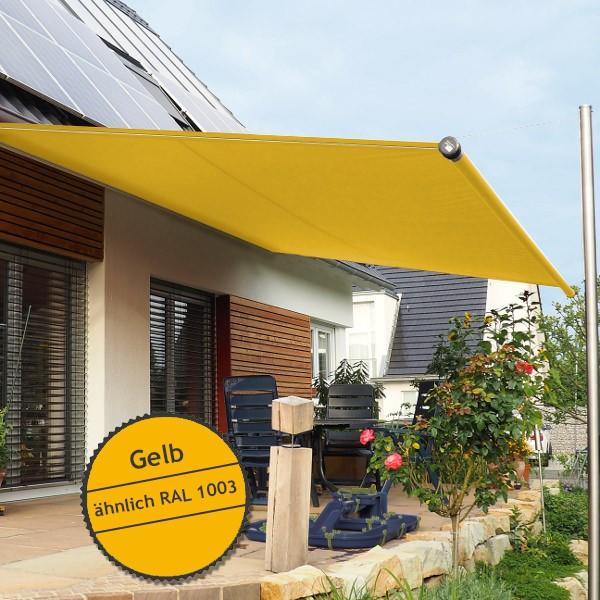 Twistersegel INOX Shadeone® in Gelb - die manuell aufrollbare Sonnensegel-Markise