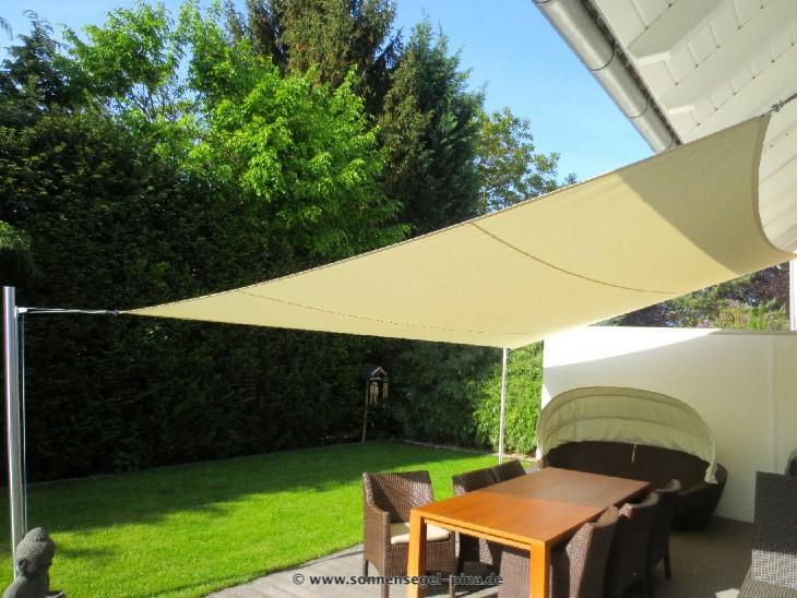 Sonnensegel Terrasse » System mit 2 Masten/ 2 Wandbefestigungen / 1 Höheneinstellung. Ausgestattet mit einem wasserabweisenden Tuch.