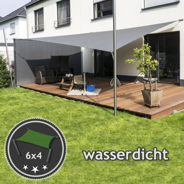 Sonnensegel-Anlage höhenverstellbar 6x4m wasserdicht - Komplett | Terrasse 2 Mast/2 Wand