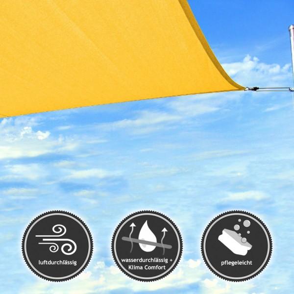 Rechteck-Sonnensegel - wasser- & luftdurchlässig - TEX in 6x4m - Gelb (940040) | Lager