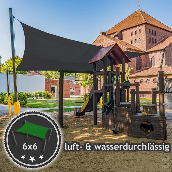 Sonnensegel-Anlage mit Kurbelsystem 6x6m in luftdurchlässig | Kindergarten - 4 Pfosten