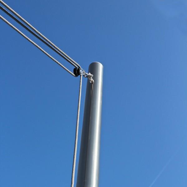 Segelstange mit Seilzugsystem ø60,3mm in 2,5m, 4mm Wandung inkl. Flaschenzug-Set + Bodenhülse 0,75m