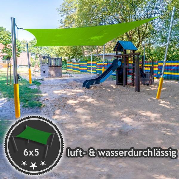 Sonnensegel-Anlage mit Kurbelsystem 6x5m in luftdurchlässig | Kindergarten - 4 Pfosten