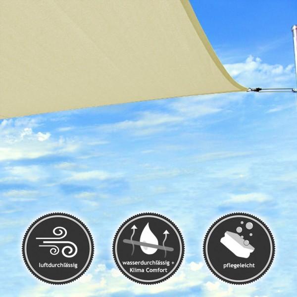 Quadrat-Sonnensegel | wasser- und luftdurchlässig - TEX - 6x6m - Elfenbein (940020) | Lager