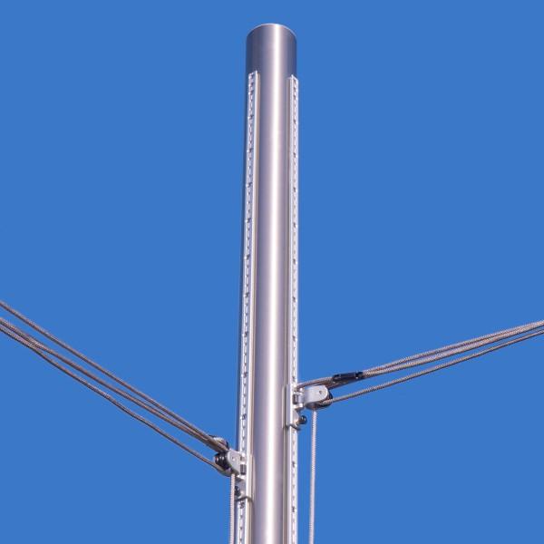 Sonnensegel Edelstahl-Stange ø101,6mm, höhenverstellbar inkl. 2 Gleitschienen & 4-fach Flaschenzüge