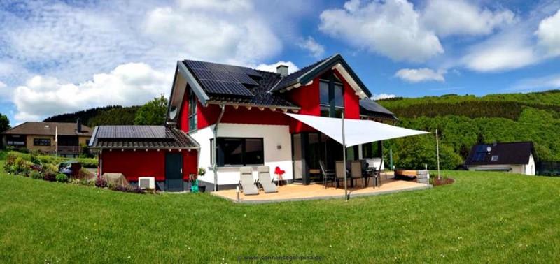 Sonnensegel Terrasse » System mit 2 Dachsparrenbefestigungen/ 1 Mast mit Höheneinstellung/ 1 Augbolzen Mast. Ausgestattet mit einem wasserabweisenden Acryl-Tuch.