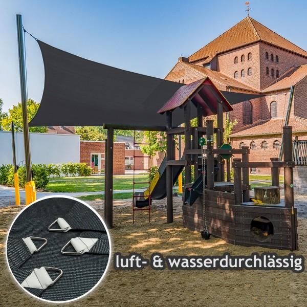 Komplett-Set Sonnensegel 6x6m in luftdurchlässig & Kurbelsystem | Kindergarten - 4 Pfosten