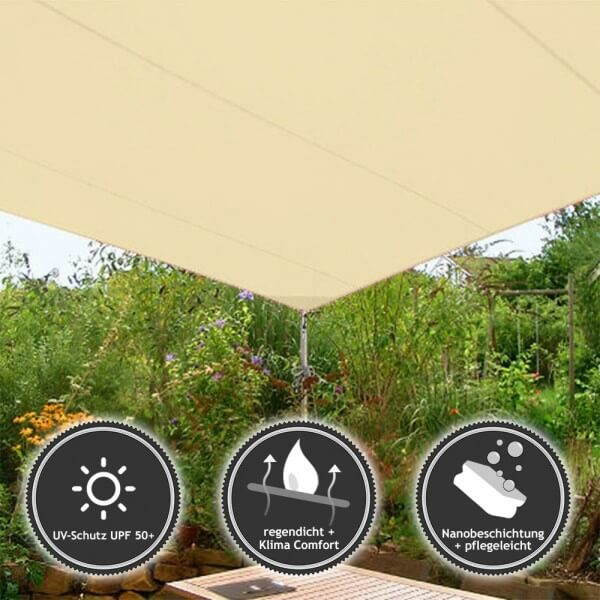 Quadrat-Sonnensegel wasserabweisend DELUXE in 350x350cm Champagner (936 090) | Lager