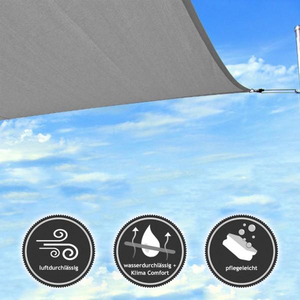 Quadrat-Sonnensegel | wasser- und luftdurchlässig - TEX - 4x4m - Stone (94110) | Lager