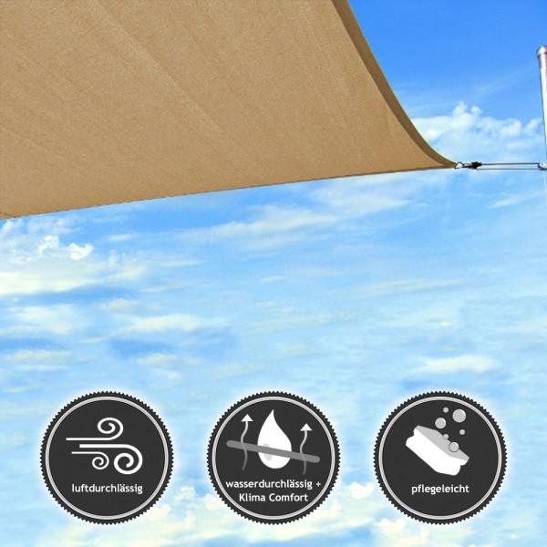 Rechteck-Sonnensegel - wasserdurchlässig - TEX in 4x3m - Bahamabeige (940030) | Lager