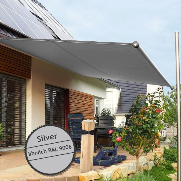 Twistersegel INOX Shadeone® in silver - die manuell aufrollbare Sonnensegel-Markise