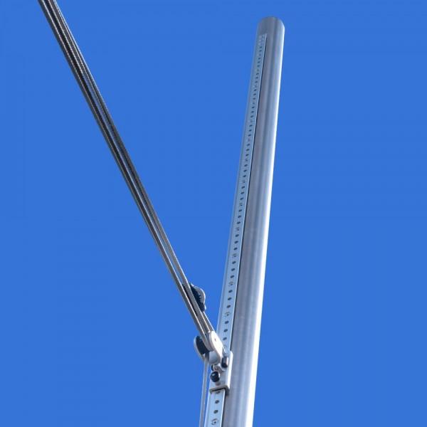 Sonnensegel Stange ø70mm, 3mm Wandung, individuell höhenverstellbar - inkl. 4-fach Flaschenzug-Set