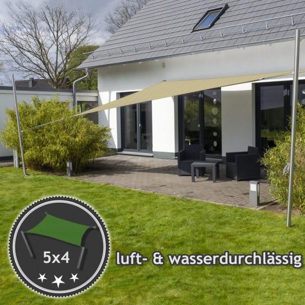 Komplett-Set Sonnensegel 5x4m in luftdurchlässig & höhenverstellbar | Terrasse 2 Mast/2 Wand