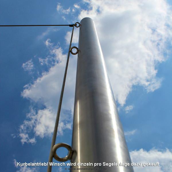 Kurbelpfosten für Sonnensegel mit 3 Augbolzen aus Edelstahl in der untersichtigen Aufnahme