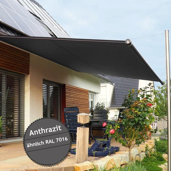 Twistersegel INOX Shadeone® in anthrazit - die manuell aufrollbare Sonnensegel-Markise
