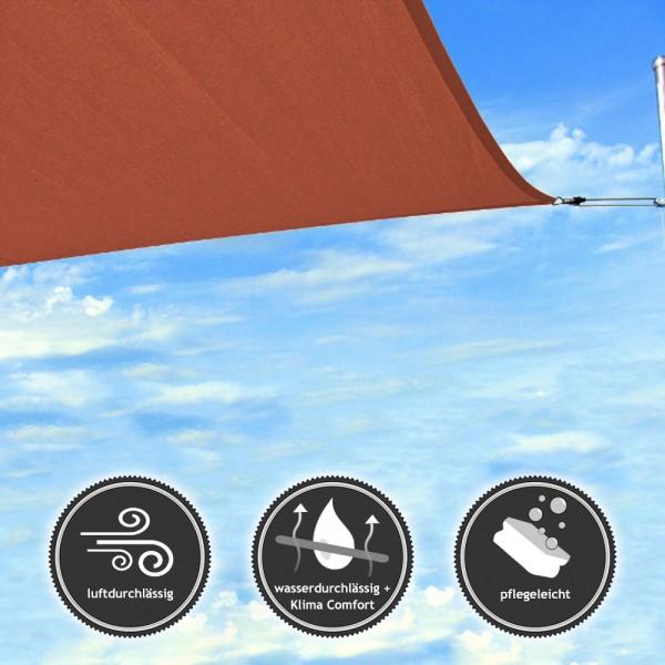 Rechteck-Sonnensegel - wasser- & luftdurchlässig - TEX in 6x3m - Terrakotta (940070) | Lager