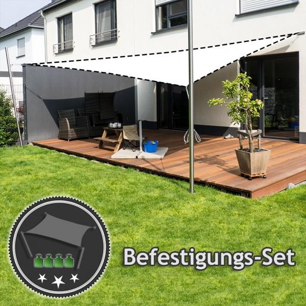 Befestigungs-Set Terrasse - für sehr große Viereck-Sonnensegel | 2 Mast & 2 Wandhalter (ohne Segel)