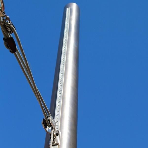 Segelstange ø101,6mm, höhenverstellbar 2,5m, 2mm Wandung inkl. Flaschenzug-Set + Bodenhülse 0,75m