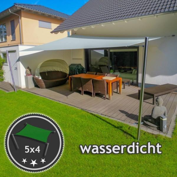 Sonnensegel-Anlage höhenverstellbar 5x4m wasserdicht - Komplett | Terrasse 2 Mast/2 Wand