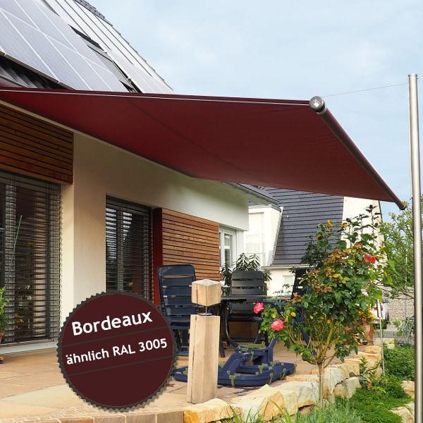 Twistersegel INOX Shadeone® in Bordeaux - die manuell aufrollbare Sonnensegel-Markise