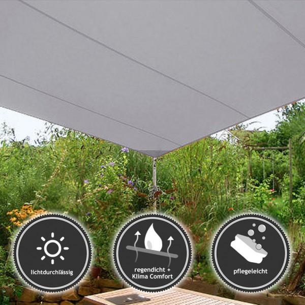 sonnensegel rechteckig wasserabweisend grau pina. Black Bedroom Furniture Sets. Home Design Ideas