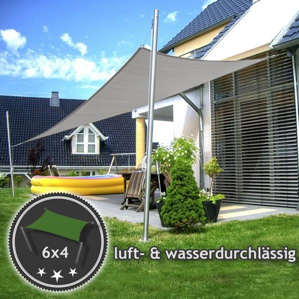 Komplett-Set Sonnensegel 6x4m in luftdurchlässig & höhenverstellbar | Terrasse 2 Mast/2 Wand