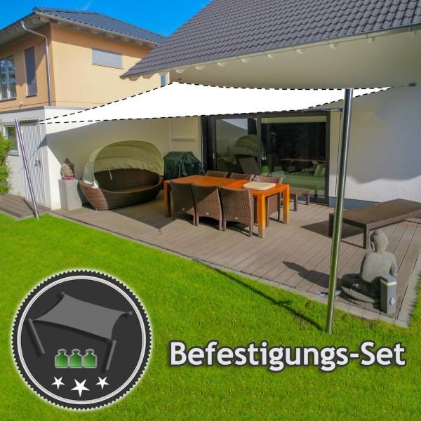 Befestigungs-Set Terrasse - für große Viereck-Sonnensegel | 2 Mast & 2 Wandbefestigung (ohne Segel)