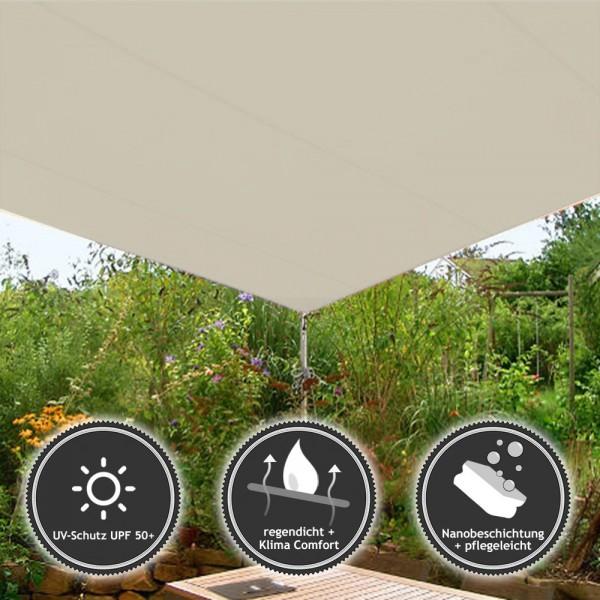 Rechteckiges Sonnensegel - wasserabweisend - Sunsilk Nano Style in 5x4m Elfenbein (936170-S) | Lager