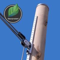 Holzmasten für Sonnensegel aus Eiche, 3m, höhenverstellbar - inkl. 4-fach Flaschenzug* & Bodenhülse