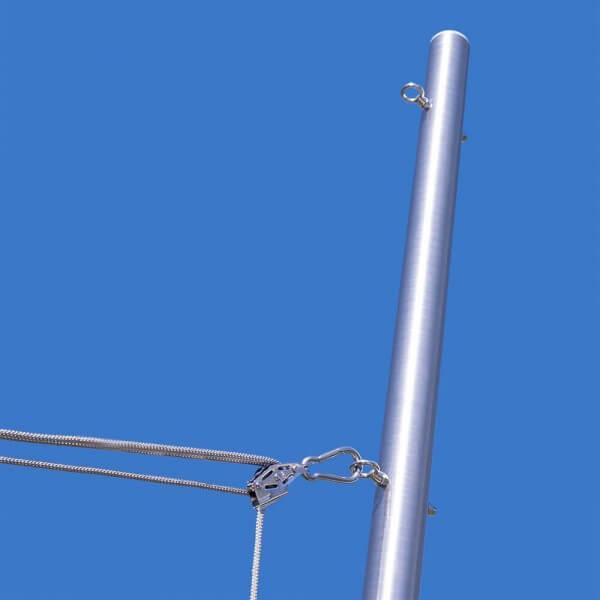 Sonnensegelmast mit 3-Punkt Höheneinstellung, ø60,3mm, 3mm Wandung inkl. 3-fach Flaschenzug-Set