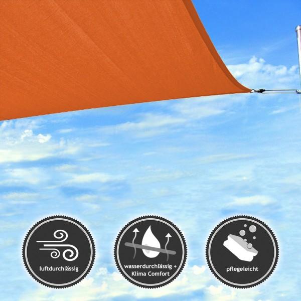 Rechteck-Sonnensegel - wasserdurchlässig - TEX in 7x5m - Sunset-Orange (940050) | Lager