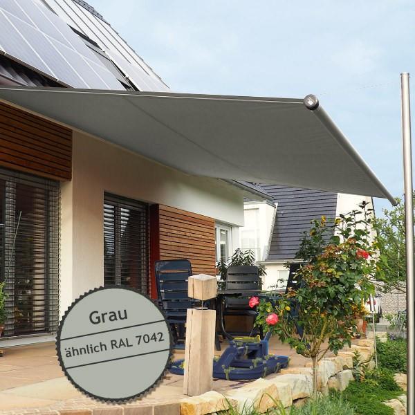 Twistersegel INOX Shadeone® in Grau - die manuell aufrollbare Sonnensegel-Markise