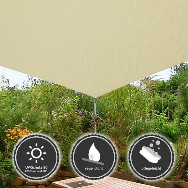 Sonnensegel wasserfest/ regendicht in 4x4m Elfenbein mit hohem UV-Schutz - Airtex Classic