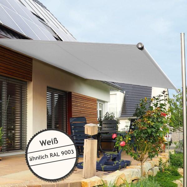Twistersegel INOX Shadeone® in weiß - die manuell aufrollbare Sonnensegel-Markise